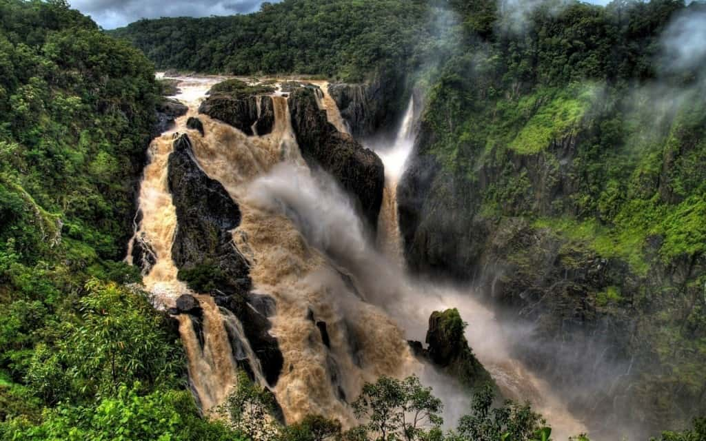 Barron Falls Is The Spot Where River Descends Into Atherton Tablelands In Queensland Australia Are Protected Gorge