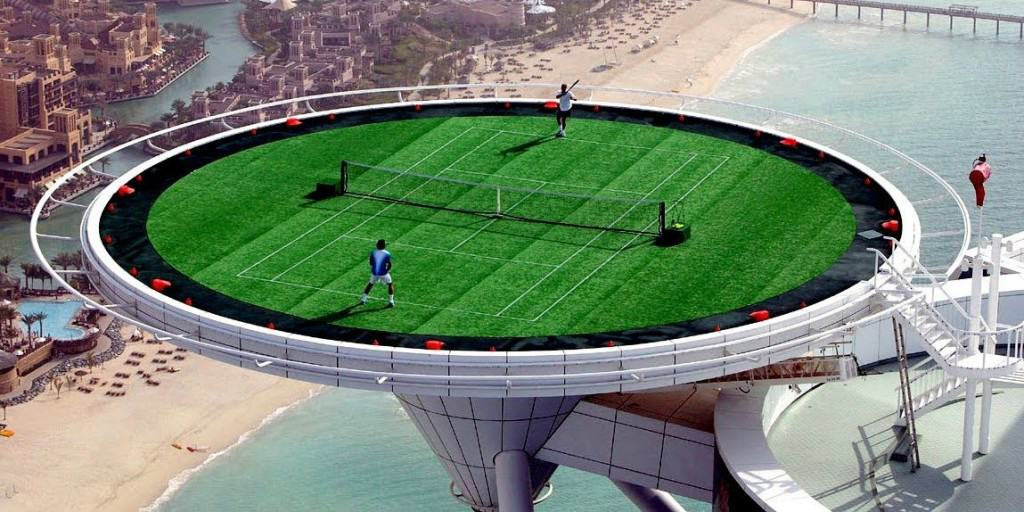 When Tennis Stars Roger Federer And Andre Agassi Visited Dubai The Burj Al Arab Hotel Converted Their Helipad Into A Court 1053 Ft In Air