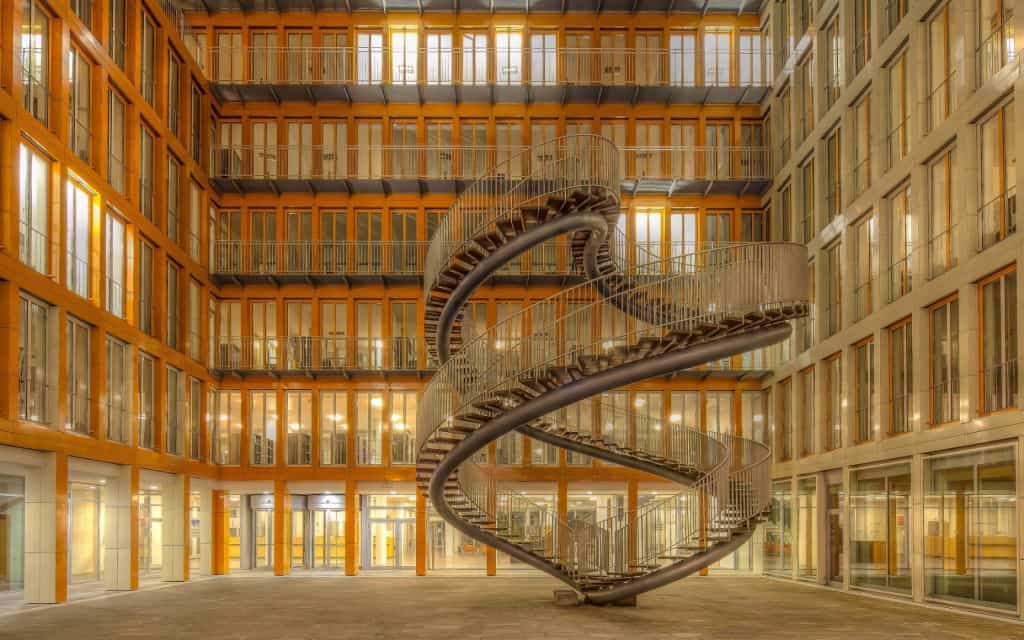 This Dizzying Staircase And Work Of Art Sits In The Courtyard At The Global  Accounting Firm KPMG, In Munich. The 30 Foot Tall Staircase Might Lead To  ...