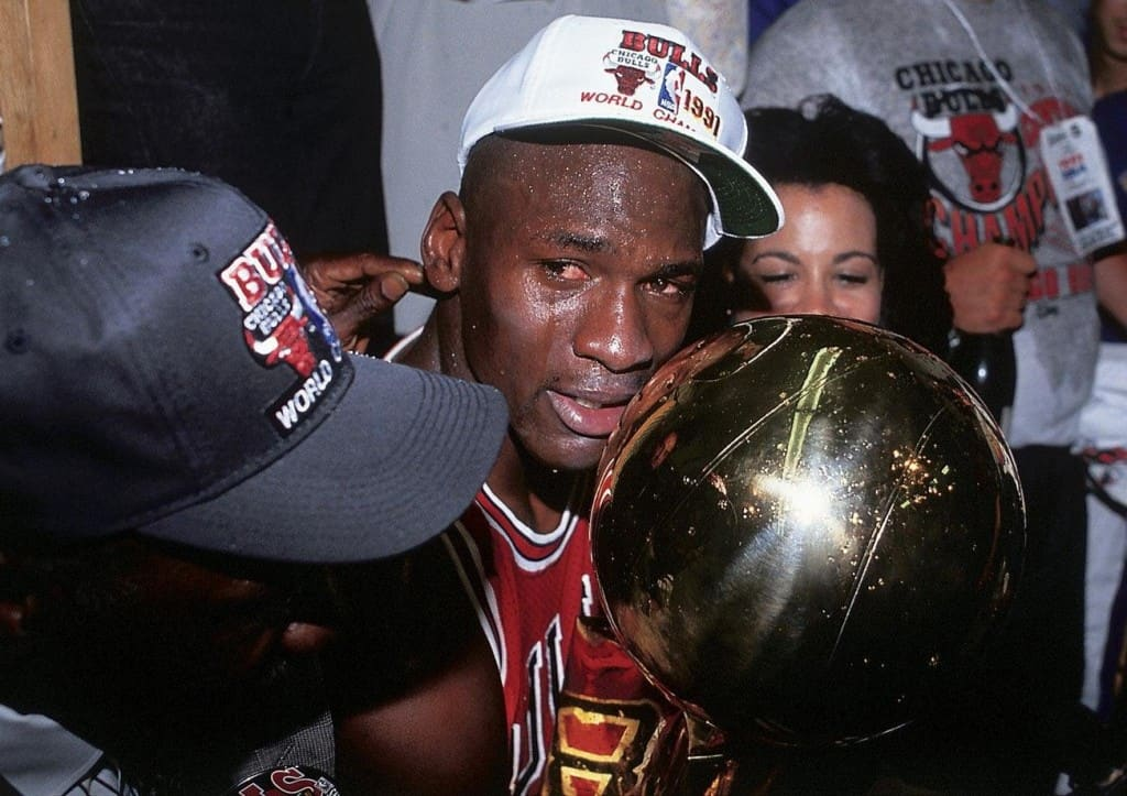 Heres An Emotional Jordan While Holding His First NBA Championship Trophy