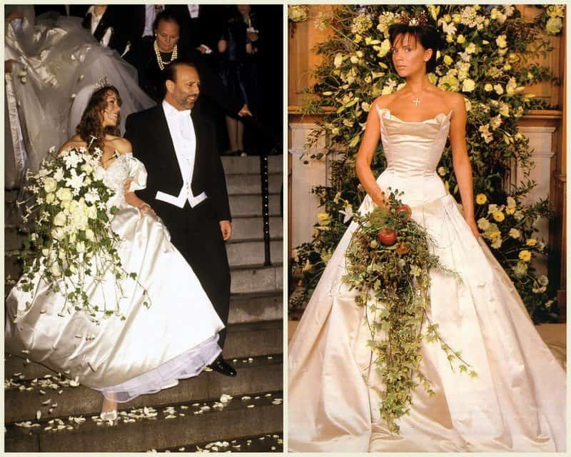 Vera Designed The 100 000 Dress That Victoria Beckham Famously Paired With A Crown For Her Wedding To David Champagne Colored Strapless