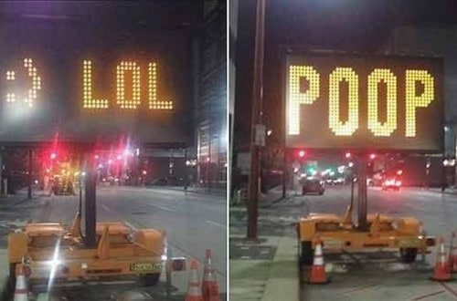 10 Of The Funniest Hacked Road Signs