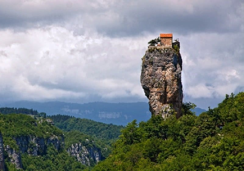 The Building Sitting Confidently On Top Of Limestone Monolith Is Found In Western Georgia It A Church Dedicated To Maximus Confessor