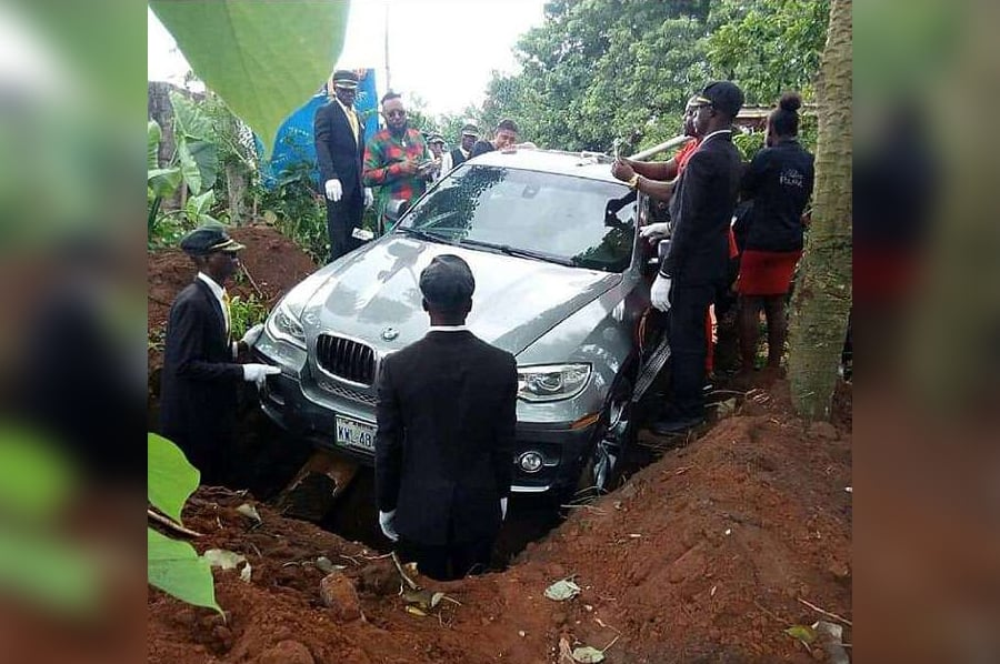 Son Buries Father In Brand New BMW In Nigeria